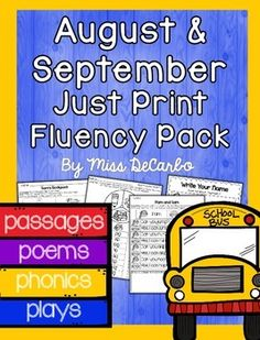 "Just Print Fluency- Fluency practice should be fun! This August and September Back to School Fluency Pack contains 20 fluency activities for your little readers. Take back your planning time with ""just print,"" ink-friendly pages to promote reading fluency, comprehension, and reading engagement."