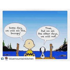 Charlie Brown: Someday, we will all die Snoopy. Snoopy: True, but on all the other days, we will not.