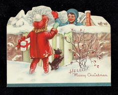 vintage Vintage Christmas Images, Vintage Holiday, Christmas Pictures, Christmas Puppy, Christmas Items, Kids Christmas, Christmas Greeting Cards, Christmas Greetings, Old Postcards