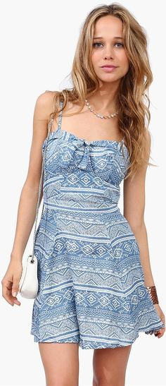 Aztec Denim Dress - Blue