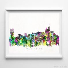 Marseille, France Watercolor Skyline Wall Art Poster - Prices from $9.95 - Click Photo for Details - #skyline#watercolor#cityscape#wallartposter #Marseille #France