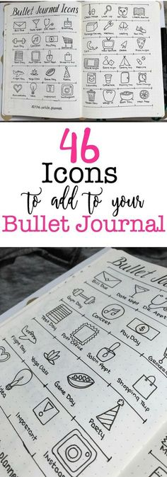Creative Decoration: 46 Icons for your Bullet Journal. Bujo illustration Planner Spread drawing give your bullet journal weeklies, dailies and monthlies some pizzazz Bullet Journal Banners, Bullet Journal Icons, Bullet Journal Spread, My Journal, Journal Pages, Bullet Icon, Bullet Journal Doodles Ideas, Bullet Journal Ideas Handwriting, Bullet Journal Writing