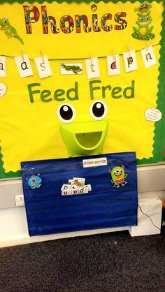 Feed Fred interactive phonics display. RWI Phonics Display, Literacy Display, Jolly Phonics, Phonics Activities, School Displays, Classroom Displays, Phonics Bulletin Board, Read Write Inc, Ks1 Classroom