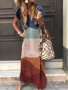 Multicolor Casual Boho V Neck Short Sleeve Maxi Dress Source by Dresses Casual Dresses, Fashion Dresses, Summer Dresses, Hijab Casual, Casual Clothes, Casual Outfits, Formal Outfits, Party Outfits, Elegant Dresses