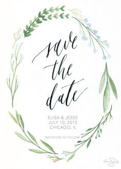 Ally Invite Save the Date Custom Calligraphy / Watercolor by OliveBranchandCo