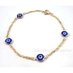Pulseira Folheada Ouro 18k Olho Grego Turco Azul Corrente Singapura - Drika Jóias & Acessórios