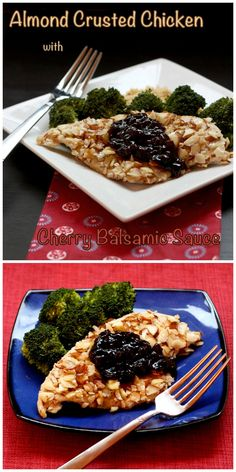 Almond Crusted Chicken with Cherry Balsamic Sauce - it's easy to impress with this nutty, crunchy chicken topped with a sweet and tangy sauce. | cupcakesandkalechips.com | gluten free