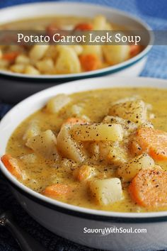 Carrot Recipes, Easy Soup Recipes, Appetizer Recipes, Dinner Recipes, Cooking Recipes, Hearty Potato Soup Recipe, Potato Leek Soup, Carrot And Leek Soup