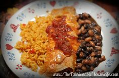 Recipe for Chicken Chipotle Enchiladas served with spanish rice and black beans