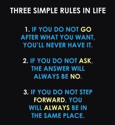 The best 3 simple rules in life!