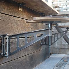 Modern Industrial Furniture, Industrial House, Rustic Industrial, Metal Furniture, Industrial Basement Bar, Rustic Basement, Outdoor Bar Stools, Rustic Outdoor Bar, Custom Metal Fabrication