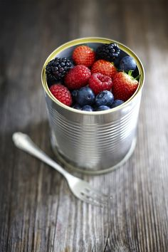 Fruits in a can, food, still