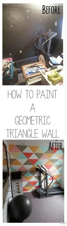 How to paint a geometric triangle wall {Interiors by Kenz} by doreen. Do It Yourself Inspiration, Home Decor Inspiration, Triangle Wall, Triangle Pattern, Idee Diy, Of Wallpaper, My New Room, Triangles, Skagen