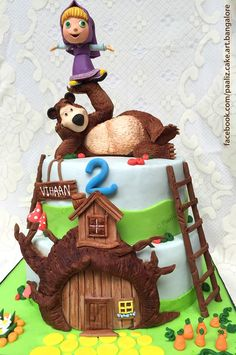 Masha and the Bear Cake. Crafted by Paaliz Cake Art Bangalore. Custom Made, Designer Theme Cakes www.facebook.com/paaliz.cake.art.bangalore/info