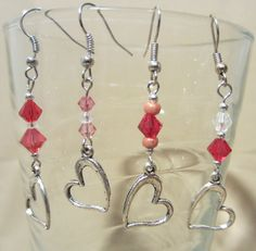 Crystals & Silver Floating Heart Beaded Dangle by Pizzelwaddels, $13.97