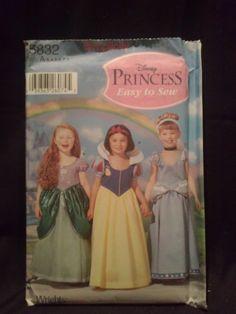 d782e9800 Disney Princess Simplicity Pattern 5832 Cinderella Ariel Snow White Size 3-  8 for sale online