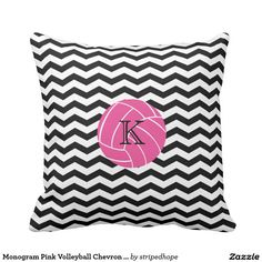 Monogram Pink Volleyball Chevron Print Pillow