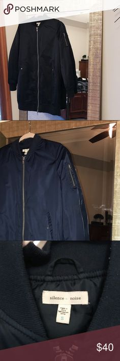 Urban Outfitters Navy Full Length Bomber Jacket full length navy bomber jacket. in perfect condition. fits true to size. Urban Outfitters Jackets & Coats Utility Jackets