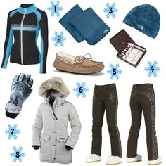 Holiday Gift Guide, The Snow Bunny: 1. Neve Designs Claire Full Zip Sweater 2. The North Face Denali Thermal Scarf 3. The North Face Denali Thermal Beanie. 4. UGG Sheepskin Care Kit 5. Bogner Fire + Ice Bia Pant 6. UGG Dakota Moccasin 7. Grandoe Muse Glove 8. Canada Goose Trillium Parka