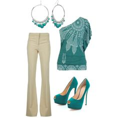 "LOVE that top! The shoes are a bit much for me. (""teal"" by ugafaninky on Polyvore)"