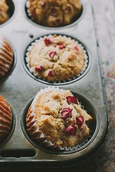 rhubarb, apple + ginger muffins {gluten + dairy-free} by My Darling Lemon Thyme (use ground flax as egg replacement! Ginger Muffin Recipe, Muffin Recipes, Brunch Recipes, Baking Recipes, Dessert Recipes, Breakfast Recipes, Rhubarb Muffins, Apple Muffins, Mini Muffins