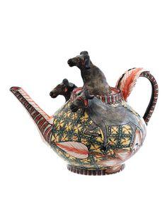 Ardmore Ceramic Art The Buffalo Teapot - Figural Animal Teapot - Made in South Africa Porcelain Dinnerware, Porcelain Ceramics, China Porcelain, Ceramic Art, Painted Porcelain, Porcelain Dolls Value, Tea Pot Set, Tea Sets, Enamel Teapot