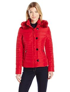 Armani Jeans Womens Puffer Coat Red 40 * Check out this great product. (Note:Amazon affiliate link)