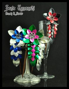 Scale Kanzashi by crazed-fangirl.deviantart.com- My friend makes these!