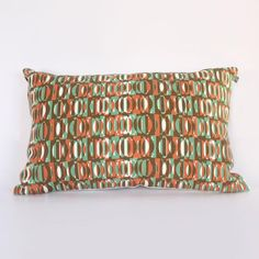 Mid-century style contemporary textile 'Eclipse' design oblong cushion; Hand screen printed