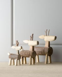 three ''alpine'' log deer. so cute for xmas.