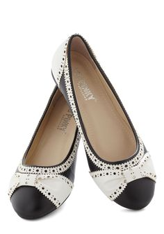 How About Wow? Flat in Black - Black, White, Menswear Inspired, Flat, Faux Leather, Work, Casual, Daytime Party