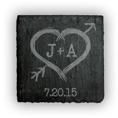 Square Slate Coasters (set of 4)  - Heart with initials and arrow personalized with date
