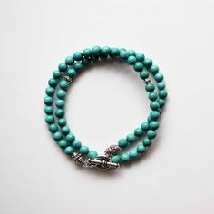 Men's Bracelet Turquoise and Silver Wrap by winkandbauble,