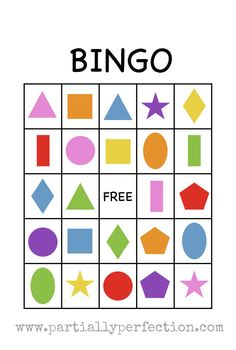 Shape Bingo Card - FREE PRINTABLE - I'm going to use this to teach Spanish names of colors and shapes!