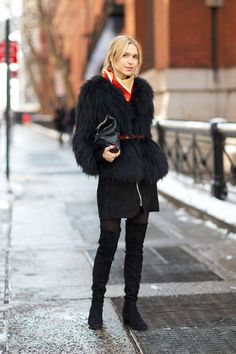 Belted Fur Jacket | Street Style