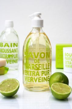 Love the screen printing onto the bottles by Savon de Marseile for this French Soap Brand