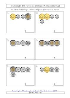 La fiche d'exercices de maths « Comptage des Pièces de Monnaie Canadienne (Petites Collections) (A) » de la page des Fiches d'Exercices sur la Monnaie.