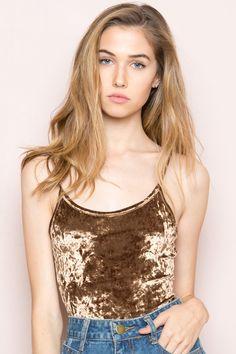 Brandy ♥ Melville    Reina Velvet Bodysuit - Clothing
