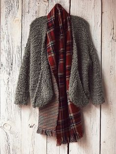 the perfect winter uniform: marshmallow sweater coat and oversized plaid scarf