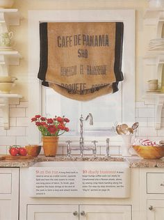 DIY How to Make a Curtain from a Vintage Feedsack. Too cute with the subway tile and the farmhouse sink!