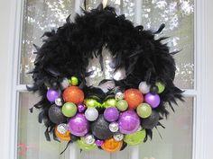 Black Feather Halloween Wreath Halloween by MimisVintageGoodies