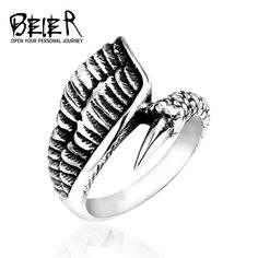 beier new store Stainless Steel ring high quality for women and men dragon claw fashion jewelry Fashion Bracelets, Fashion Jewelry, Jewelry Rings, Fine Jewelry, Engagement Rings Round, Braided Bracelets, Types Of Rings, Stainless Steel Rings, White Gold Rings
