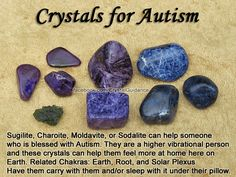 Crystals for Autism — Sugilite, Charoite, Moldavite, or Sodalite can help someone who is blessed with Autism. They are a higher vibrational person and these crystals can help them feel more at home here on Earth. Have them carry with them and/or sleep with it under their pillow. —  Related Chakras: Earth, Root, and Solar Plexus