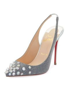 d99fc77d307 Christian Louboutin Drama Sling 100mm Spike Specchio Laser Red Sole Pumps