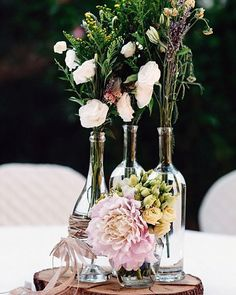 30 Outstanding Wedding Table Decorations ❤ wedding table decorations on a wooden bag in glass bottles flowers rebecca silenzi via instagram #weddingforward #wedding #bride