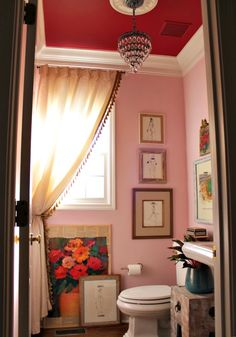 pink and red powder bathroom @ourfifthhouse