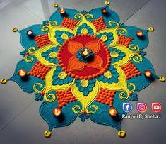 Easy Rangoli Designs Diwali, Rangoli Designs Latest, Simple Rangoli Designs Images, Rangoli Designs Flower, Free Hand Rangoli Design, Rangoli Patterns, Rangoli Ideas, Rangoli Designs With Dots, Flower Rangoli