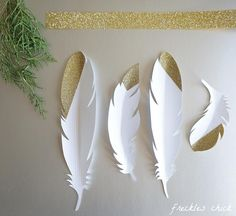 "Gold ""dipped"" paper feathers (using glitter tape) {Freckles Chick}"