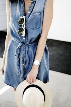 Chic in seconds: A chambray dress, sunnies and a panama hat.