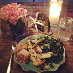 Lemon marinated kale salad, rosemary brussels sprouts, & garlic cilantro shrimp & salmon ♥ Lean Clean'N Green Dinner Tone It Up Nutrition Plan #BIKINISERIES